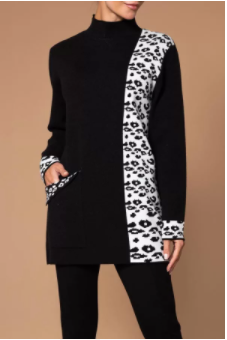 Black and White Pattern Sweater with Pocket
