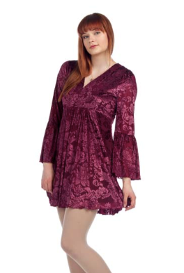 Burgundy Velvet Flared Sleeve Dress
