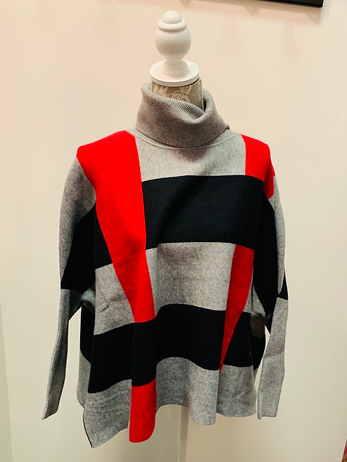Red, Black and Grey Turtle Neck