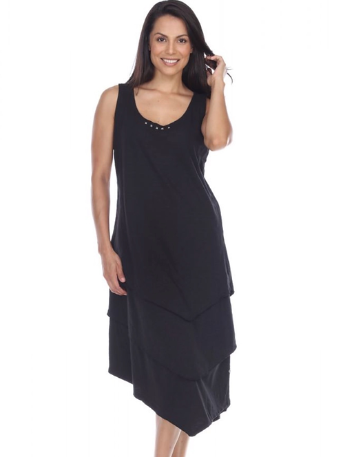 Black Cotton Dress with Studs and Raw Edge