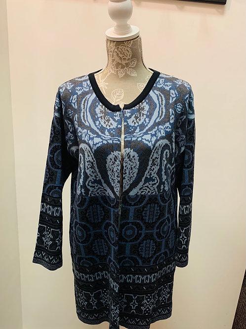 Blue Knit Tunic Sweater
