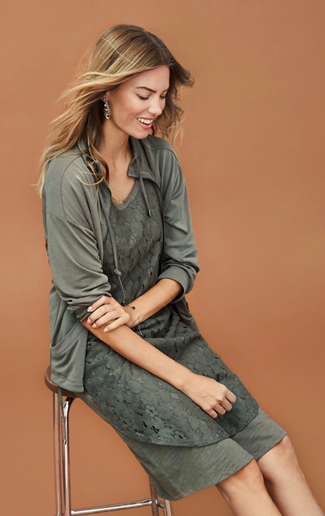 Khaki T-Shirt Dress with Lace Overlay
