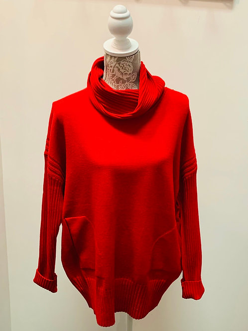 Red Turtle Neck with Pockets