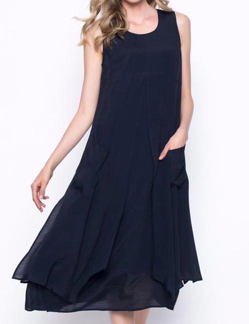 Dark Navy Sleeveless Layered Long Dress