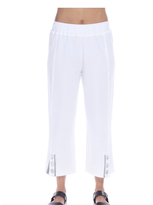 Waffle Weave Crop Pant with Grey Trim