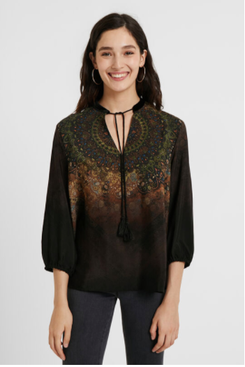 Printed Top with Tie at Collar