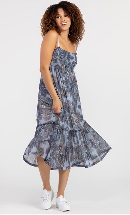 Chambray Print Dress with Ruffle Hem