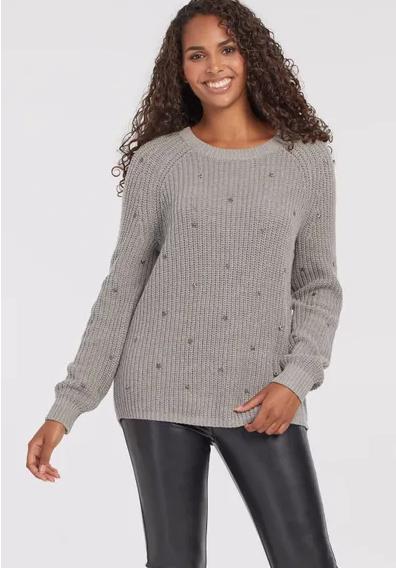 Grey Sweater with Star Studs