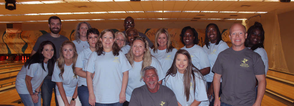 Our ESC team at a staff bonding and team building bowling event at Fannin Lanes in Flowood, MS.