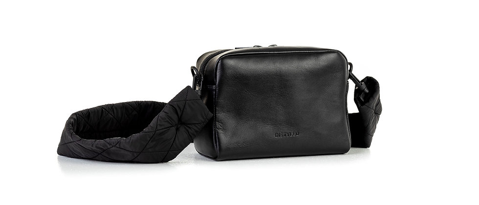 Leather camera bag, big/ quilted strap