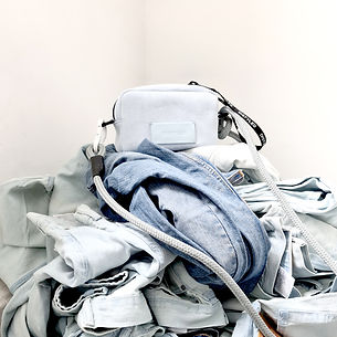 Recycled denim bags, eco friendly bags. sustainable fashion brand Distyled