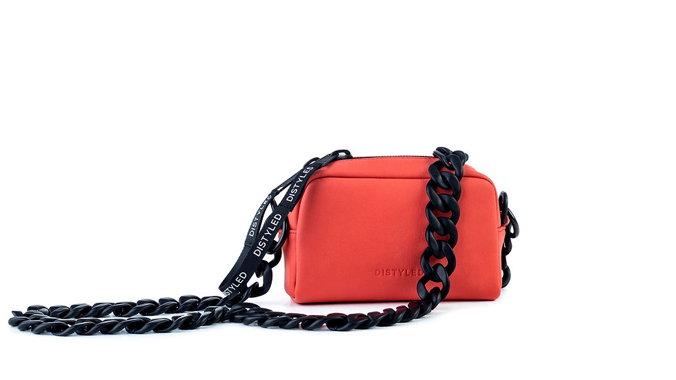 Leather camera bag, small / chain