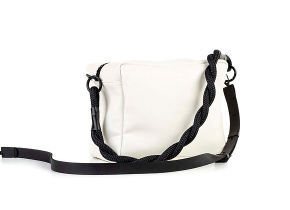 Leather Box bag / flat strap /twisted rope
