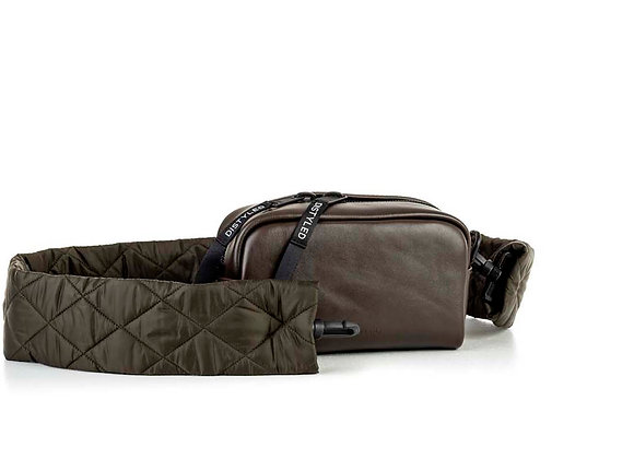 Leather Camera bag, medium/ quilted strap