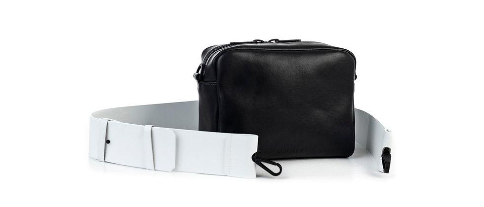 Leather camera bag, big/ Flat strap