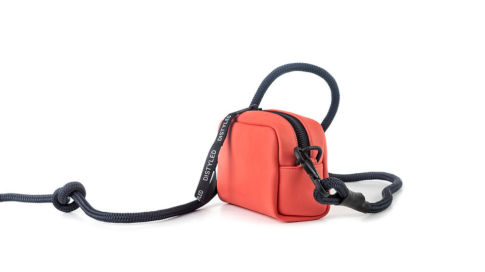 Leather camera bag, small /rope strap