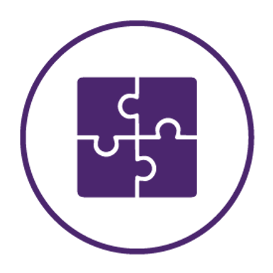 purple vector connecting puzzle piece to