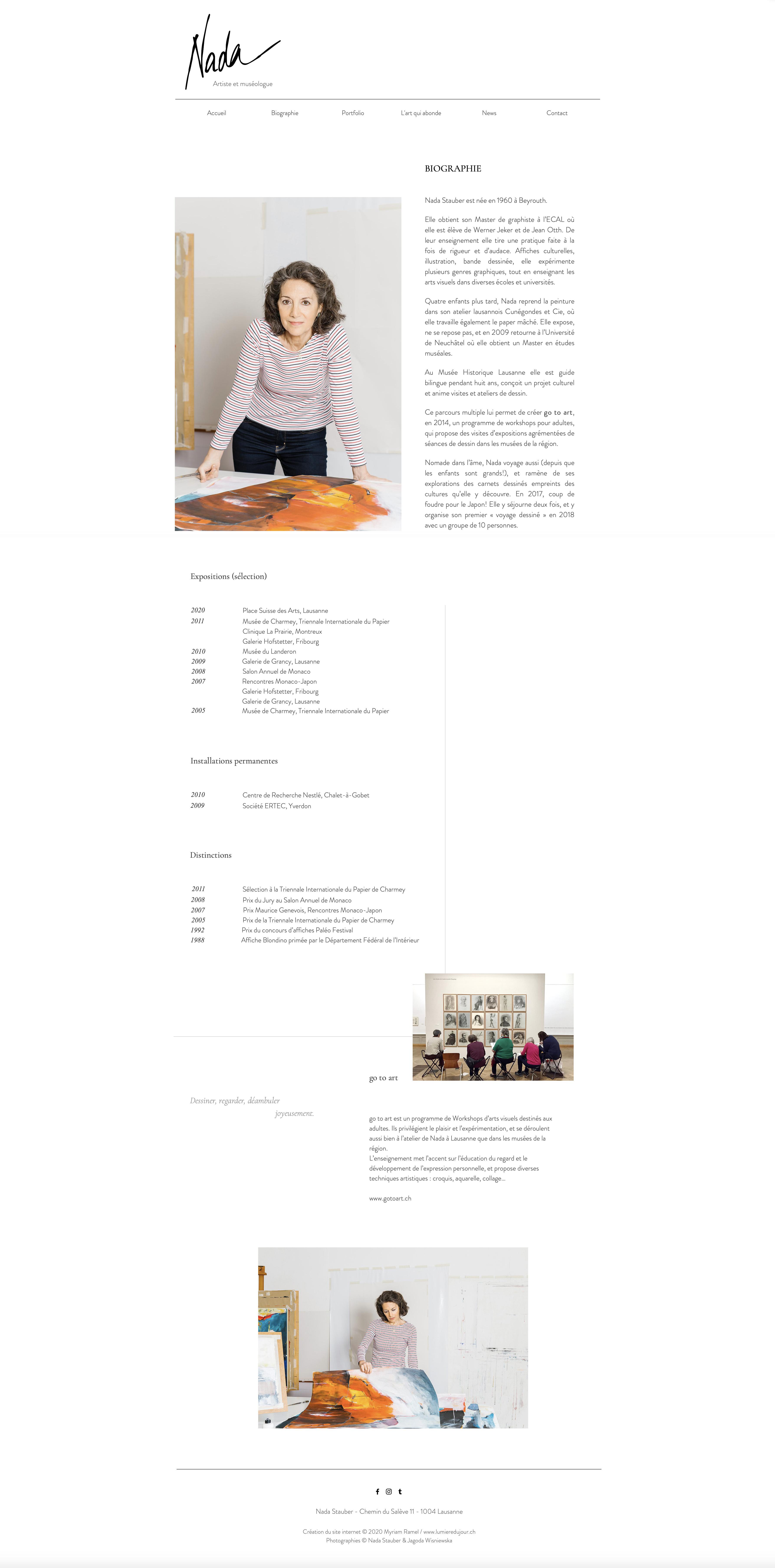 Site internet Nada Stauber, artiste, création du site Myriam Ramel, www.lumieredujour.ch, bio