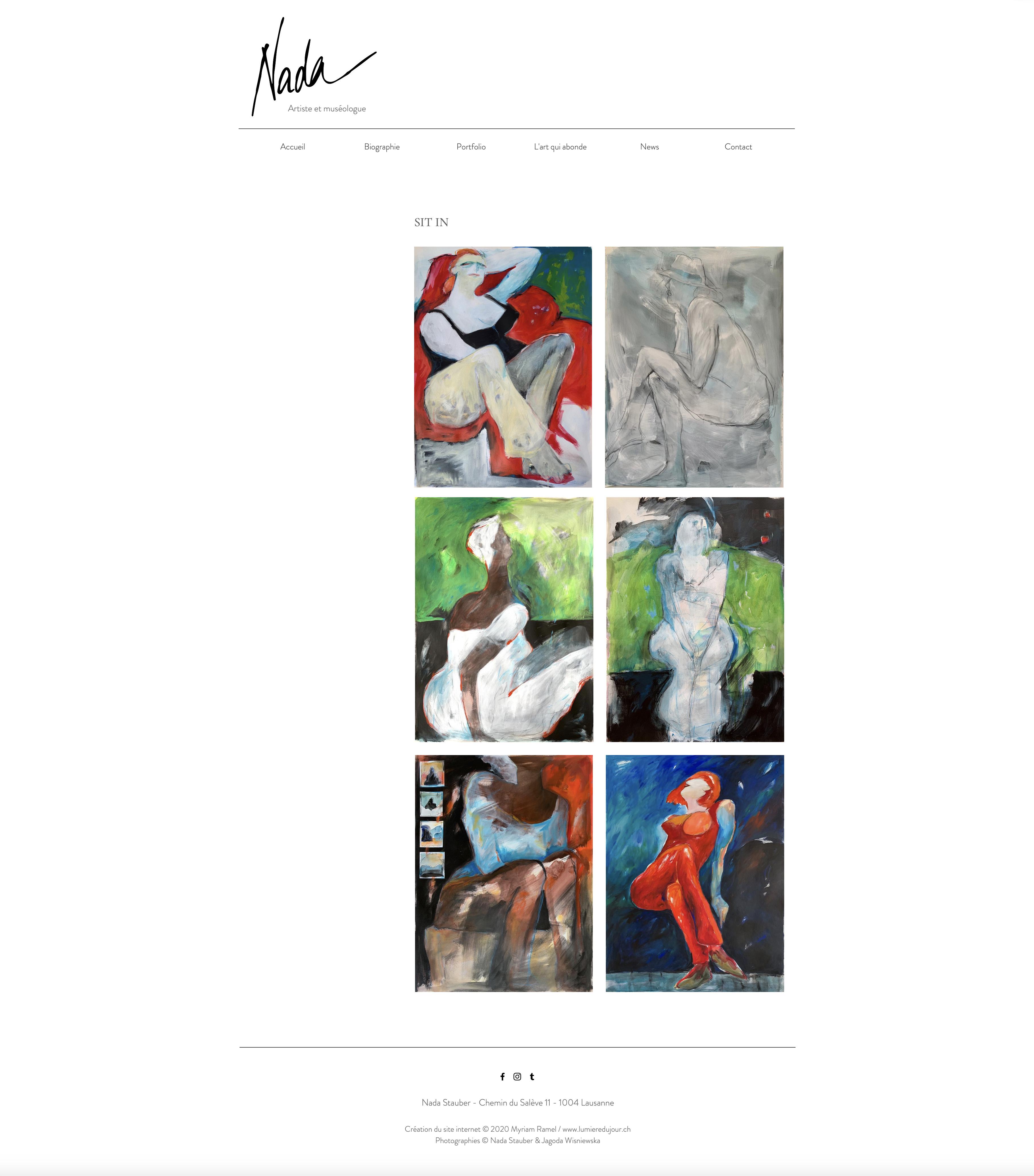 Site internet Nada Stauber, artiste, création du site Myriam Ramel, www.lumieredujour.ch, portfolio