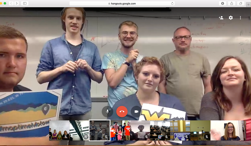 West Virginia University students from Maptime Motown, a YouthMappers chapter, join the White House Mapathon by Google Hangout.