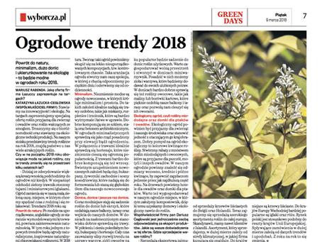 Nasz artykuł w Gazecie Wyborczej o trendach ogrodniczych na 2018 rok