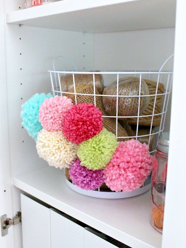 Wire Basket Update With Pom Poms