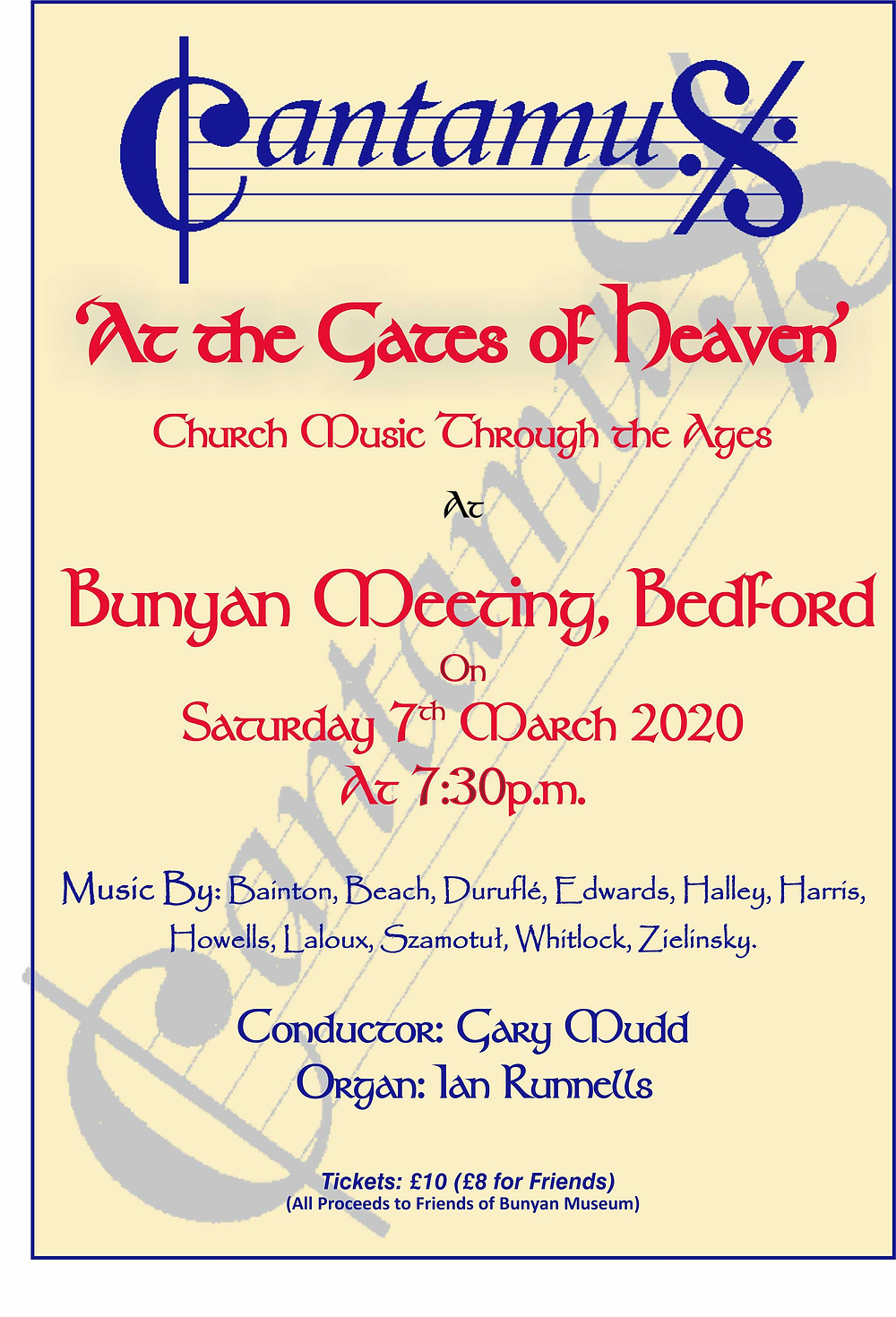 Poster for Cantamus 'At the Gates of Heaven' 7.30pm Saturday 7th March, Bunyan Meeting