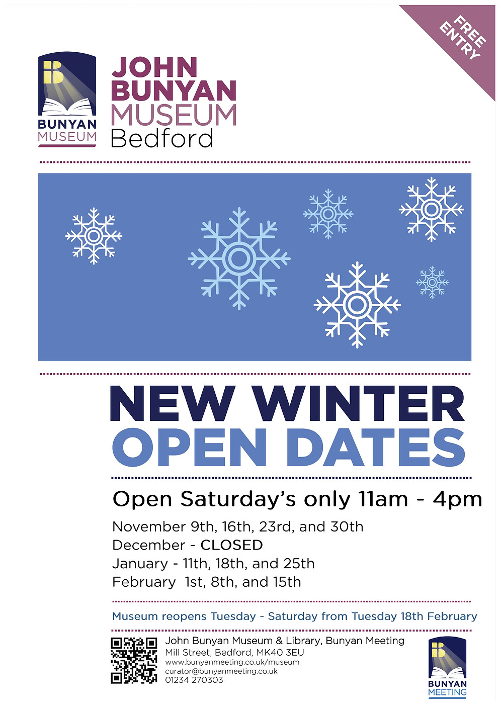 New winter opening dates for November 2019, and January and February 2020