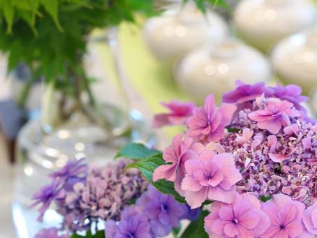 お庭の紫陽花を添えたテーブル♪
