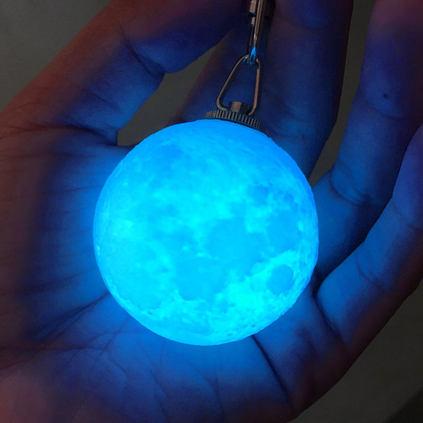 Mini 3D Print Moon Lamp 4cm Keychain