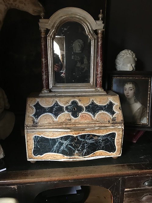Early 18th Century Italian Faux Marble Table Top Mirror