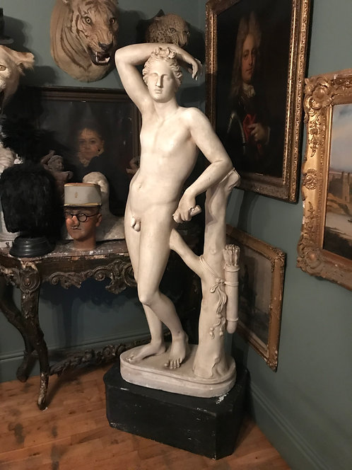 Early 20th Century Plaster Statue of Apollo as a Youth