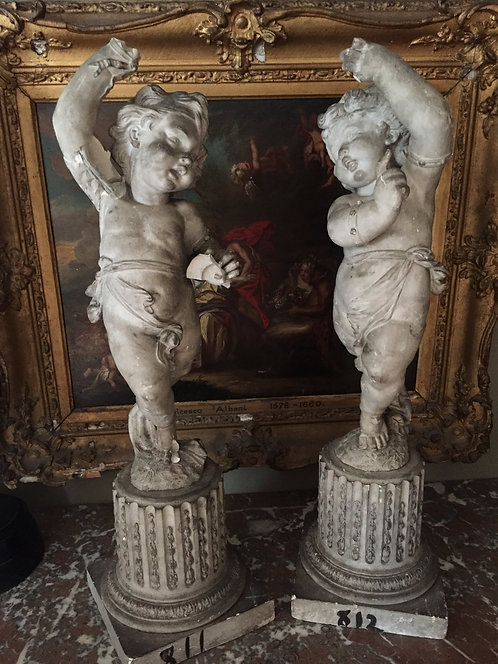 A Pair of 19th Century Putti on Fluted Columns...