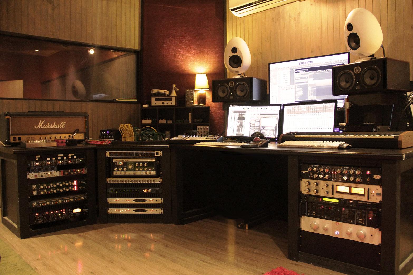 Control room at The Black Lodge recording studio.