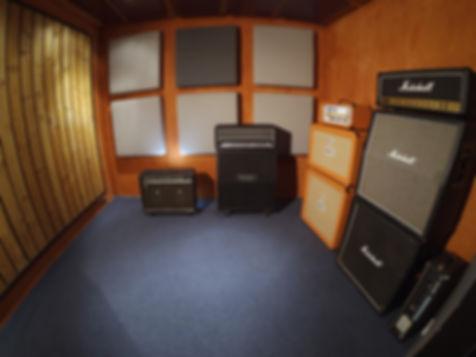Recording booth at the Black Lodge recording studio East Brunswick