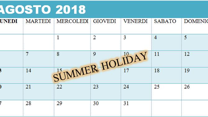 SUMMER HOLIDAY 2018