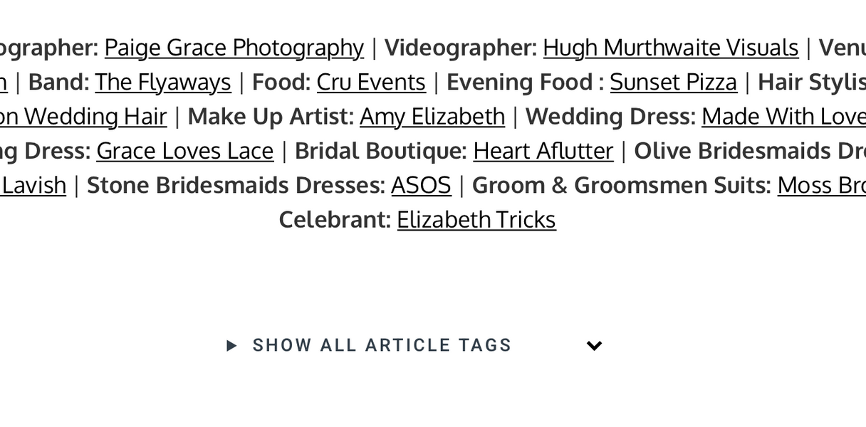 Wedding Videographer Recommended Supplier List.