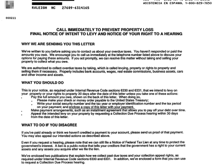 IRS NOTICES | 1058 - IRS 1058 | Final Notice of Intent to Levy