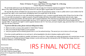 being sent an IRS notice CP-504, LT-11 or LT-16 is the first step to IRS seizure.