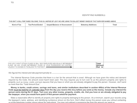 IRS NOTICES | 668-A: Notice of Levy on Bank Account or Accounts Receivable