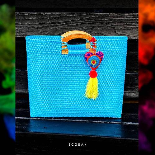 Electric Blue Wood Handles Bag
