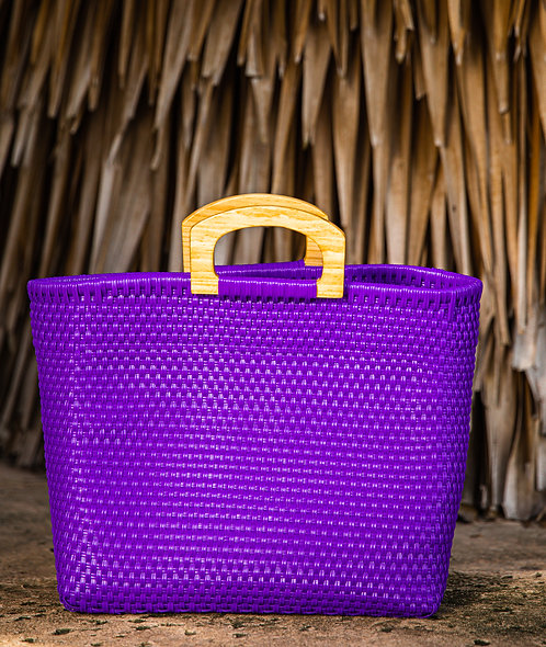 Purple Wood Handles Medium Bag