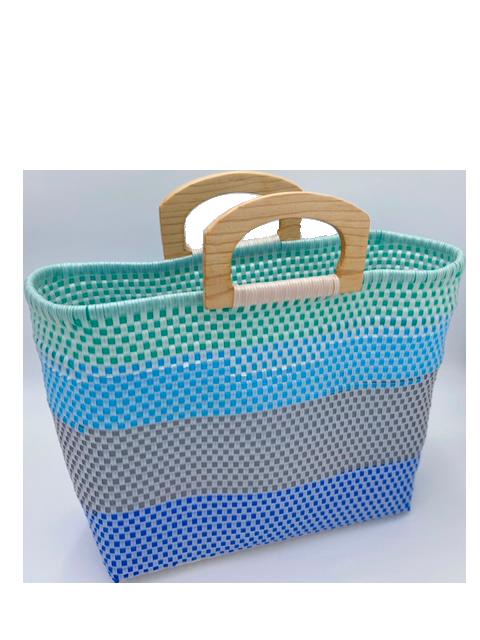 Blue Green Waves Wood Handles Bag