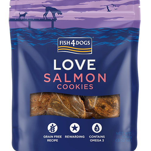 Fish4Dogs LOVE poslastice – Salmon cookies 100g