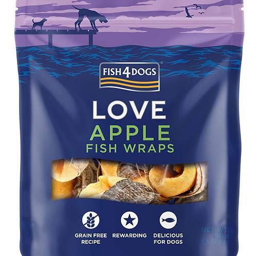 Fish4Dogs LOVE Wraps poslastice, jabuka 90g