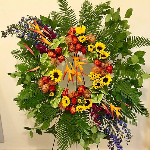 Vibrant Memorial Wreath with Stand