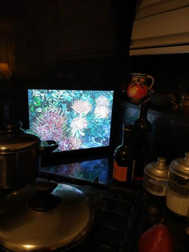 Backlit frame on kitchen
