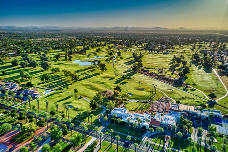 Golf course drone image extreme aerial p
