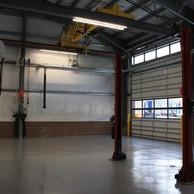 Eastman Maintenance Facility interior garage doors and beams