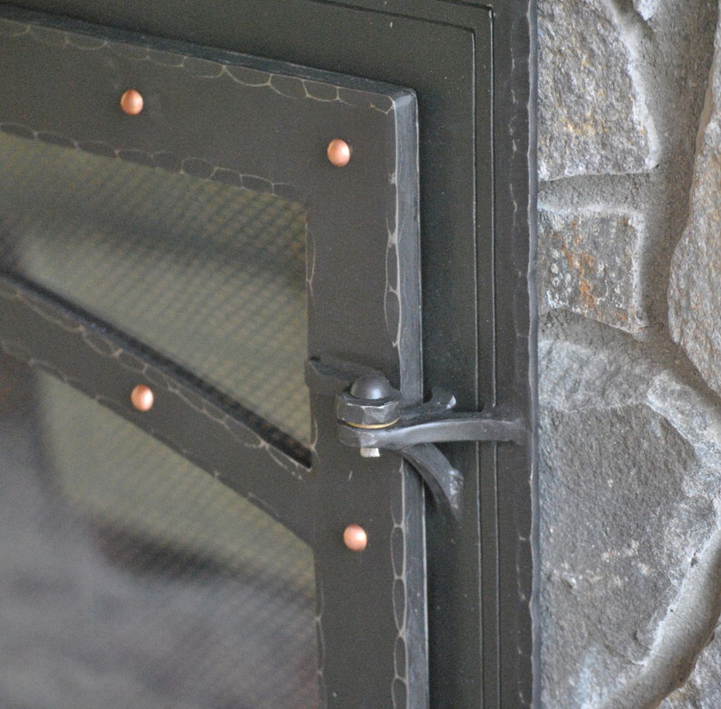 Steel Fireplace Doors with Copper